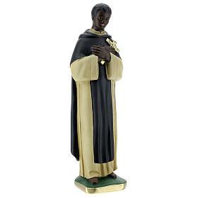 Statuette Saint Martin de Porrès 30 cm plâtre peint main Barsanti s4