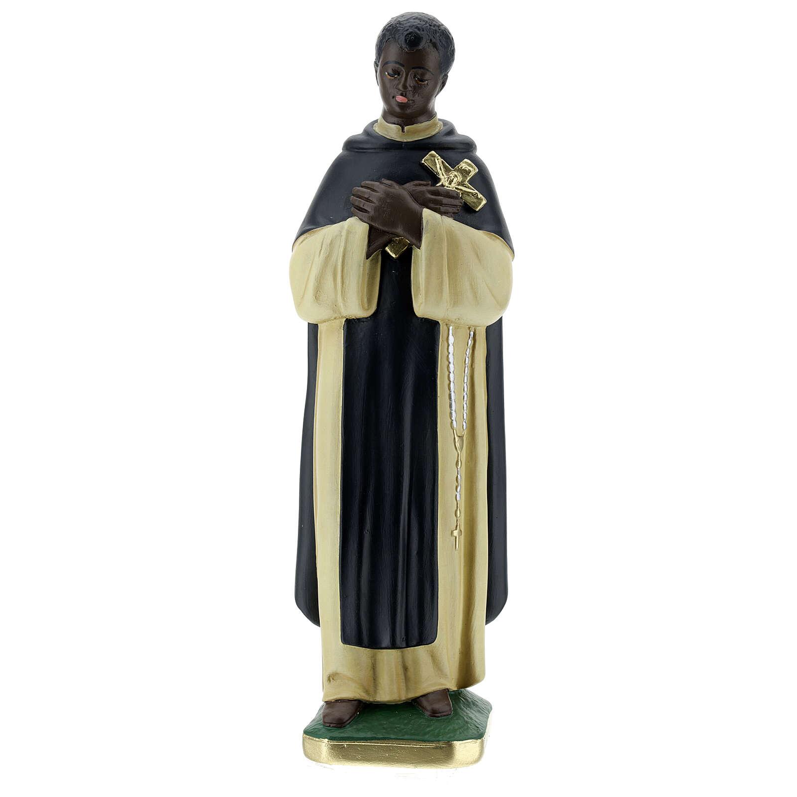 Statuetta San Martin de Porres 30 cm gesso dipinta a mano Barsanti 4