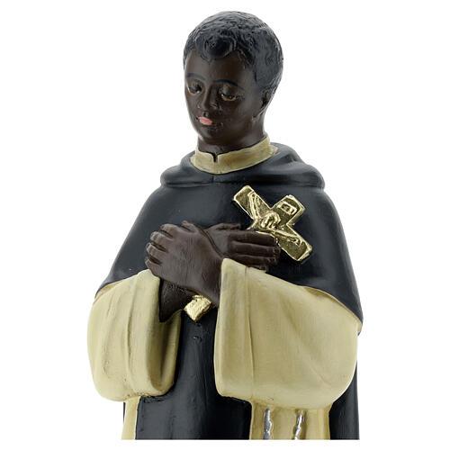 Santo Martin de Porres statue, 30 cm hand painted plaster Barsanti 2