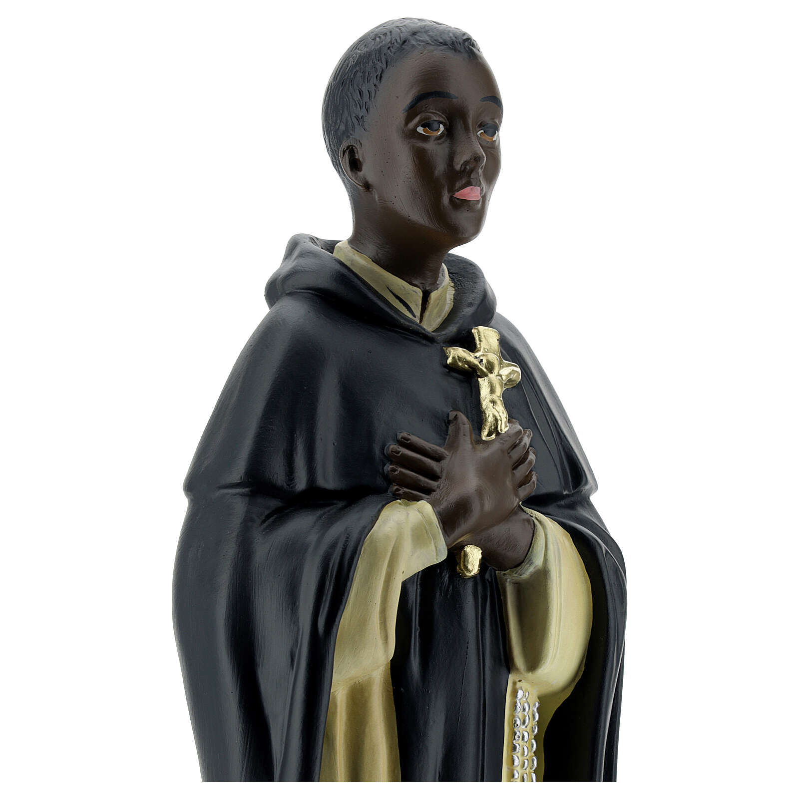 Saint Martin de Porrès statue plâtre 40 cm Arte Barsanti 4