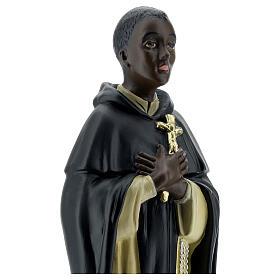 Saint Martin de Porrès statue plâtre 40 cm Arte Barsanti s4