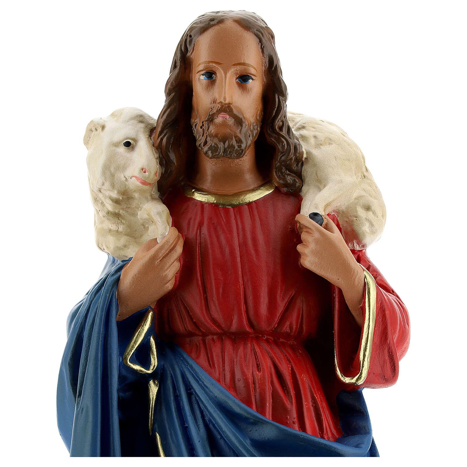 Bon Pasteur statue plâtre 30 cm peint main Arte Barsanti 4