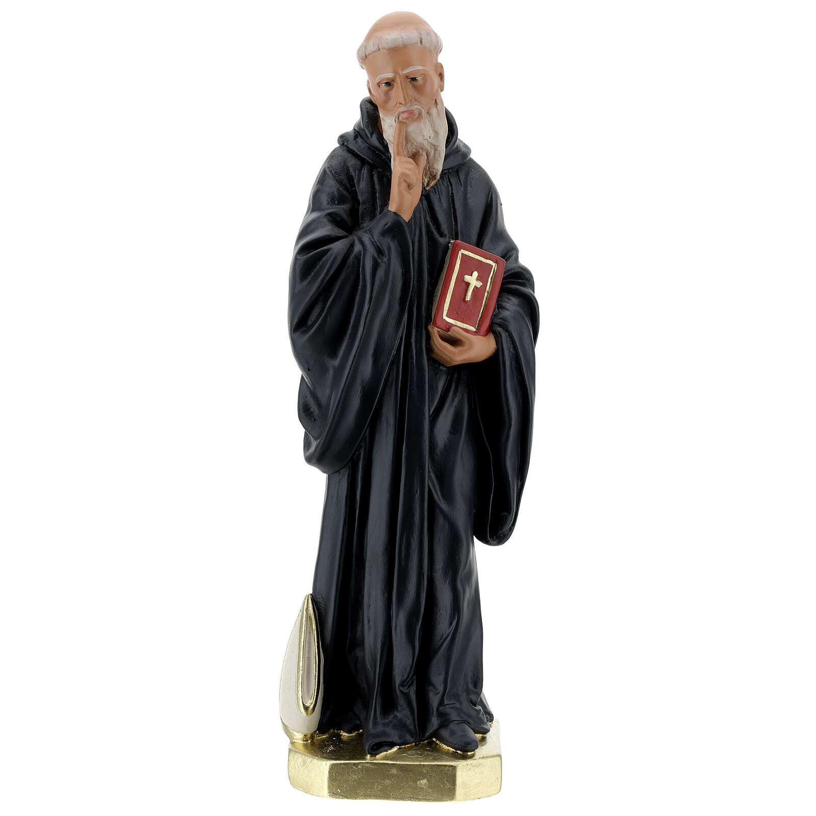 Saint Benoît Abbé statue plâtre 40 cm peinte main Barsanti 4