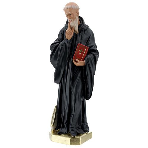 Saint Benoît Abbé statue plâtre 40 cm peinte main Barsanti 3