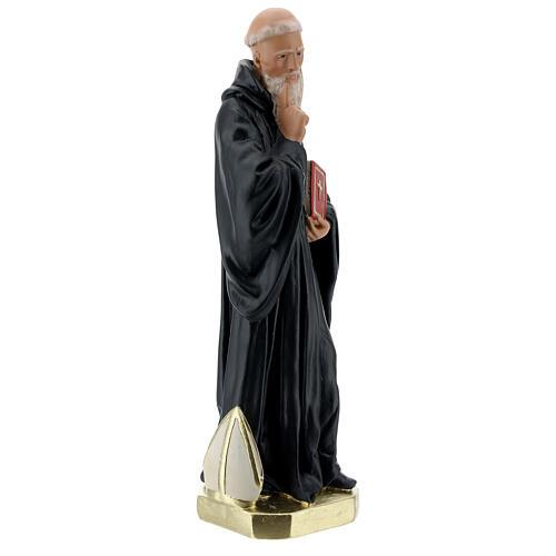 Saint Benoît Abbé statue plâtre 40 cm peinte main Barsanti 5
