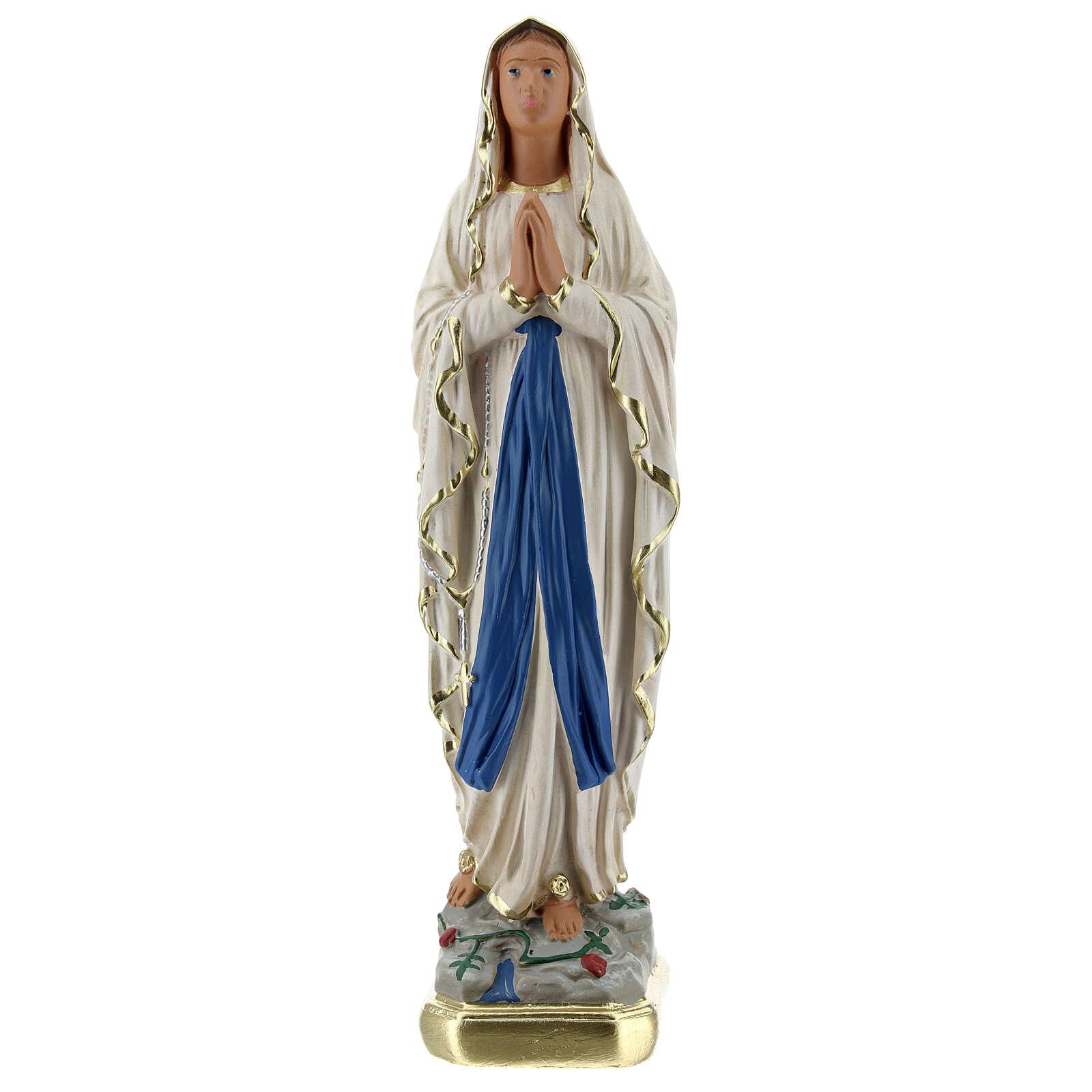 Estatua Virgen de Lourdes 20 cm yeso pintada a mano Barsanti 4
