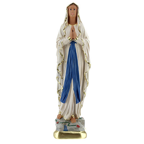 Lady of Lourdes statue, 25 cm hand painted plaster Barsanti 1