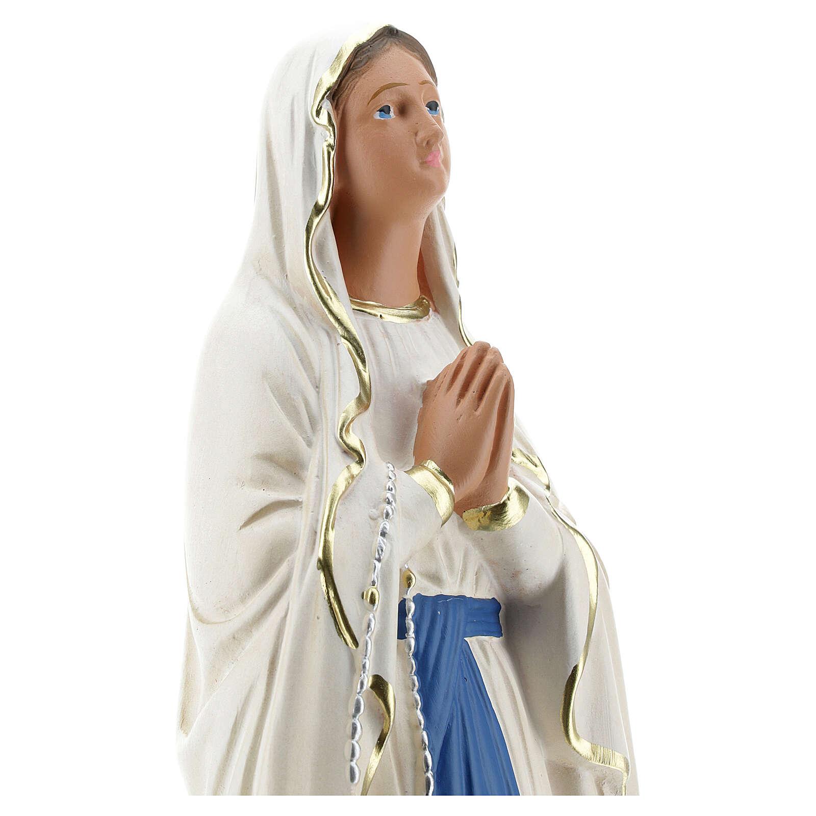 Notre-Dame de Lourdes statue 30 cm plâtre peint main Barsanti 4