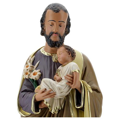 Notre-Dame de Lourdes statue 50 cm plâtre peint main Barsanti 8