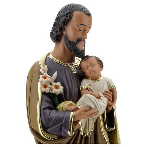 Notre-Dame de Lourdes statue 50 cm plâtre peint main Barsanti 10