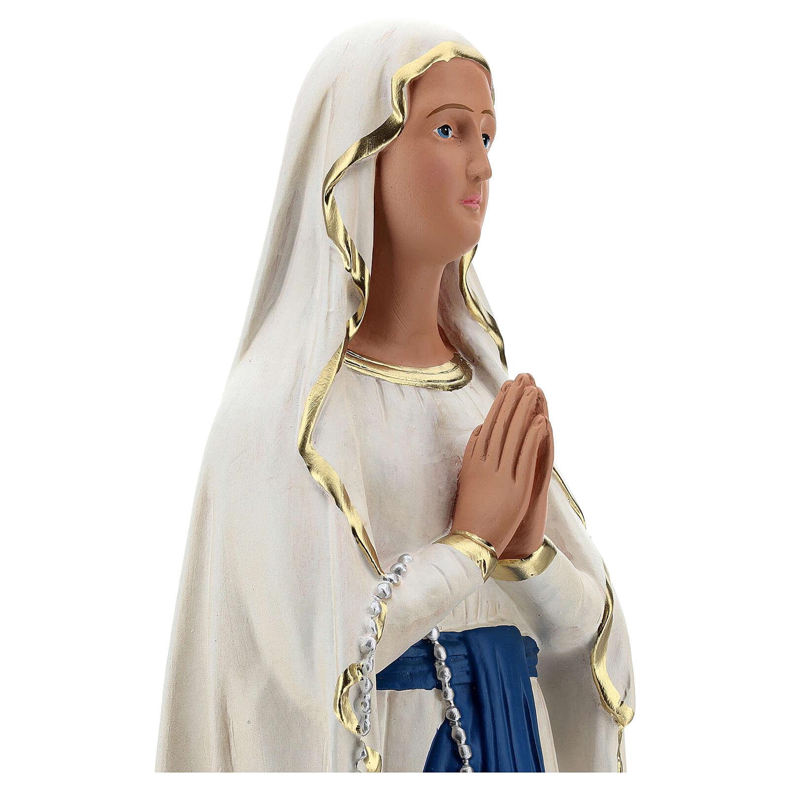 Statue plâtre Notre-Dame de Lourdes 60 cm peinte main Barsanti 4
