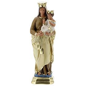 Statue Notre-Dame du Mont-Carmel plâtre 30 cm peint main Barsanti s1