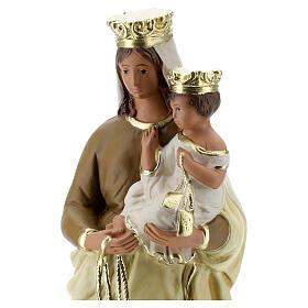 Statue Notre-Dame du Mont-Carmel plâtre 30 cm peint main Barsanti s2