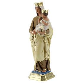 Statue Notre-Dame du Mont-Carmel plâtre 30 cm peint main Barsanti s3