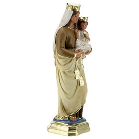 Statue Notre-Dame du Mont-Carmel plâtre 30 cm peint main Barsanti s5
