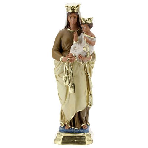 Statue Notre-Dame du Mont-Carmel plâtre 30 cm peint main Barsanti 1