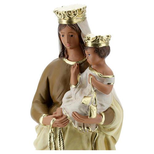 Statue Notre-Dame du Mont-Carmel plâtre 30 cm peint main Barsanti 2