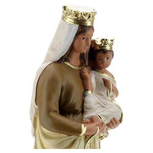 Statue Notre-Dame du Mont-Carmel plâtre 30 cm peint main Barsanti 4