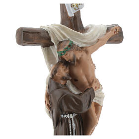 Aparición a San Francisco de Asís estatua yeso 20 cm Barsanti