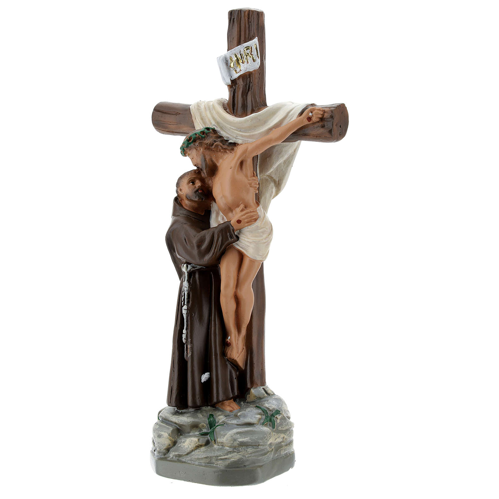 Statue of Apparition of Christ to St Francis of Assisi, 20 cm in plaster Barsanti 4