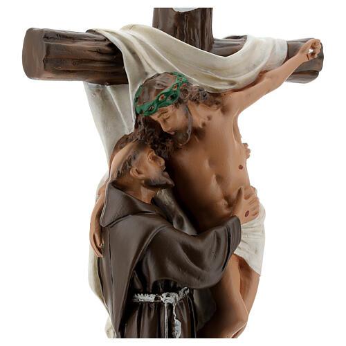 Estatua Aparición a San Francisco de Asís 30 cm yeso Barsanti  2