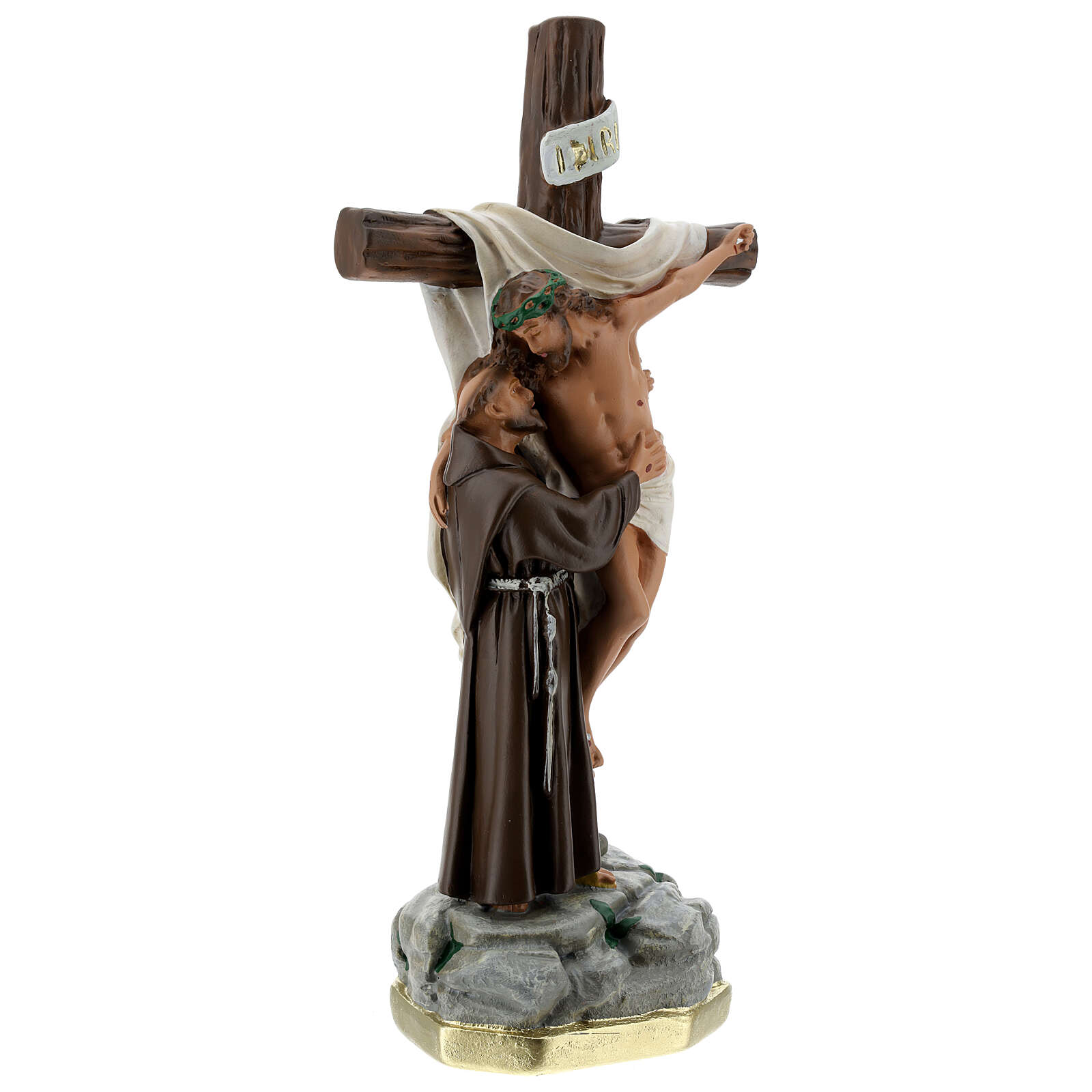 Christ Apparition to St Francis of Assisi statue, 30 cm in plaster Barsanti 4