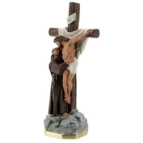 Christ Apparition to St Francis of Assisi statue, 30 cm in plaster Barsanti 3
