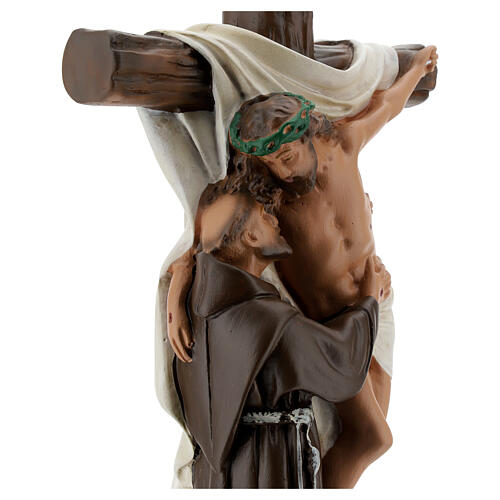 Christ Apparition to St Francis of Assisi statue, 30 cm in plaster Barsanti 6