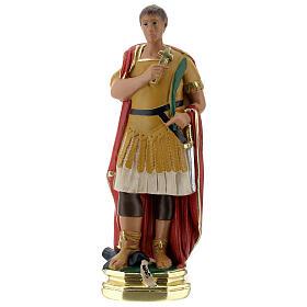 Saint Expédit statuette plâtre 20 cm peinte main Barsanti s1