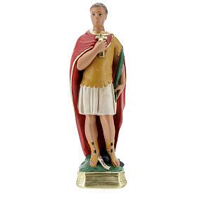 Saint Expédit statue plâtre 30 cm peint main Arte Barsanti s1