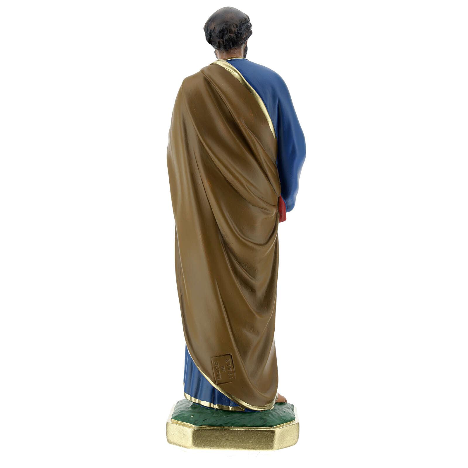 Saint Pierre statue plâtre 30 cm peint main Arte Barsanti 4