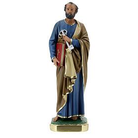 Saint Pierre statue plâtre 30 cm peint main Arte Barsanti s1
