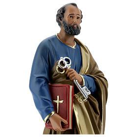 Saint Pierre statue plâtre 30 cm peint main Arte Barsanti s2