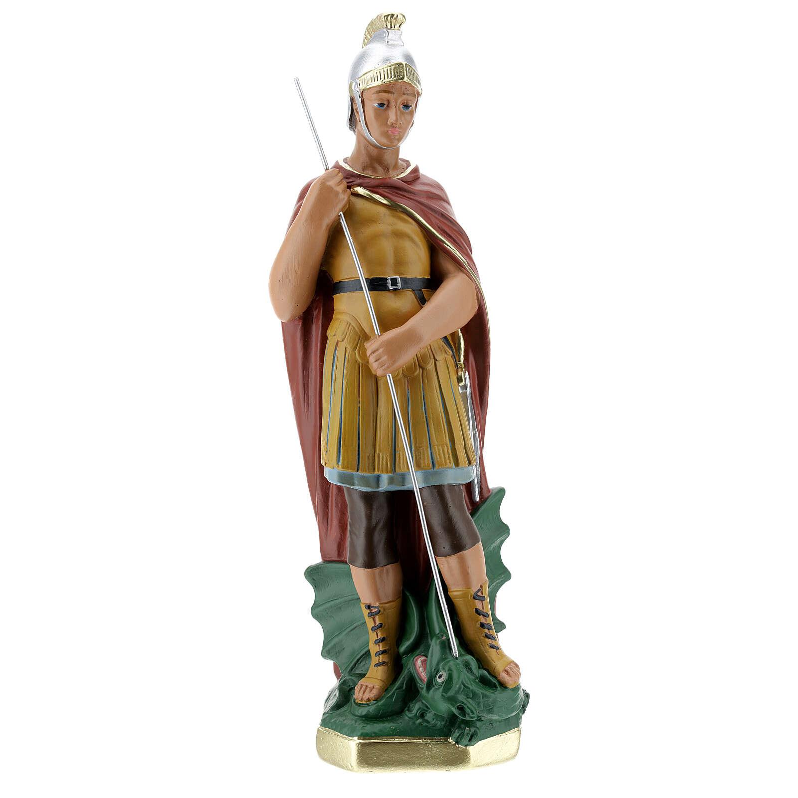 Saint Georges statue plâtre 30 cm peint main Arte Barsanti 4