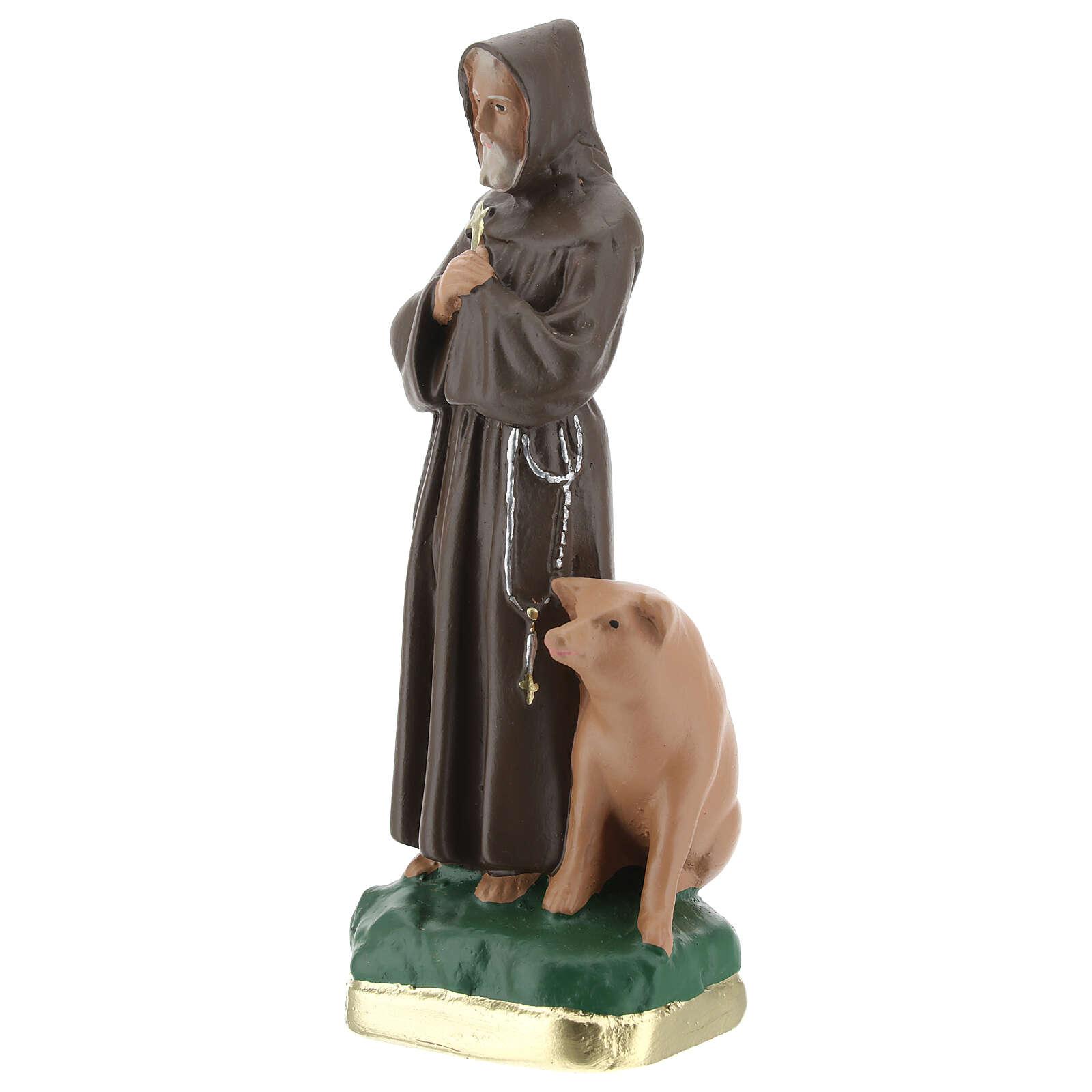 Saint Antoine Abbé statue plâtre 20 cm peinte main Barsanti 4