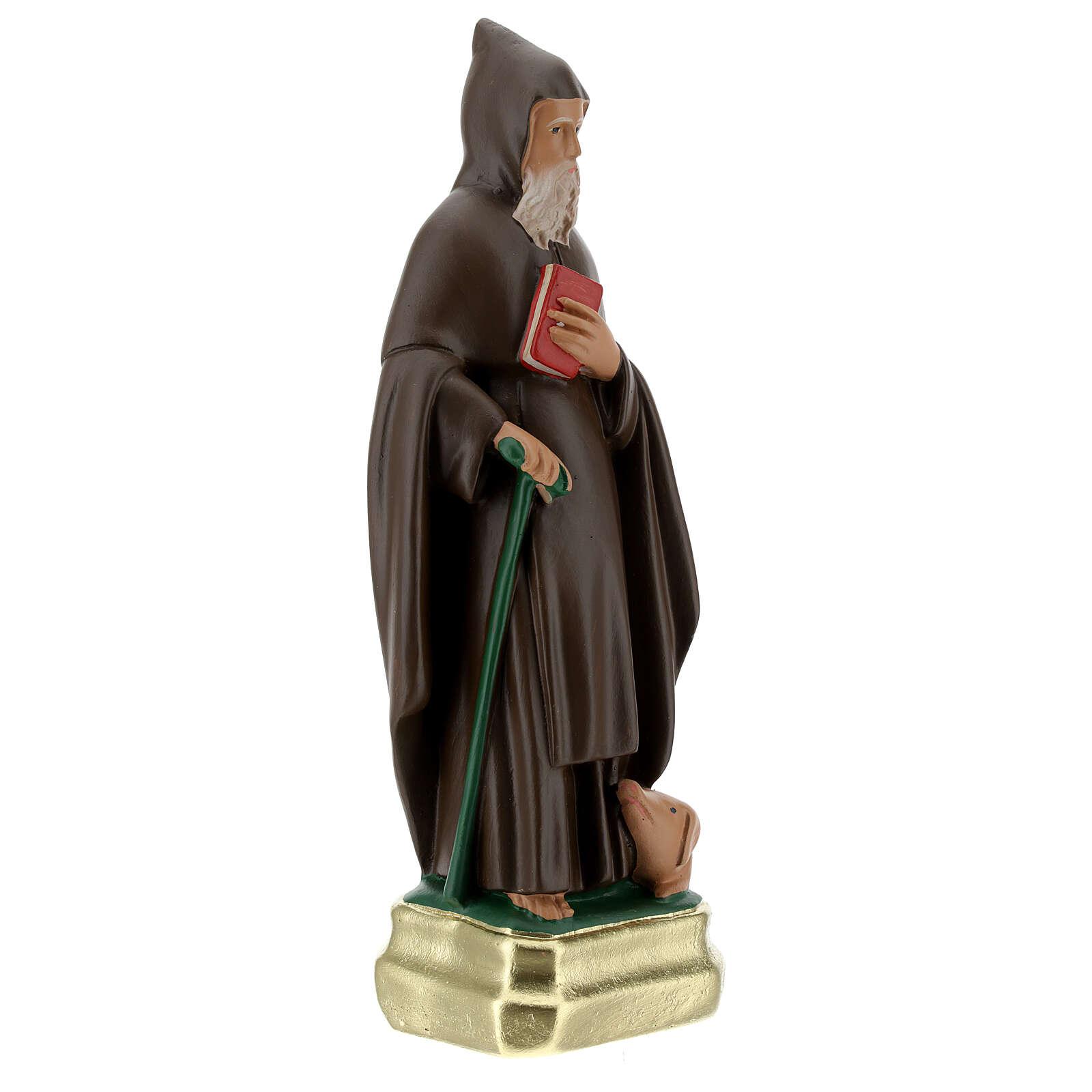 Statue Saint Antoine Abbé 25 cm plâtre peint main Barsanti 4