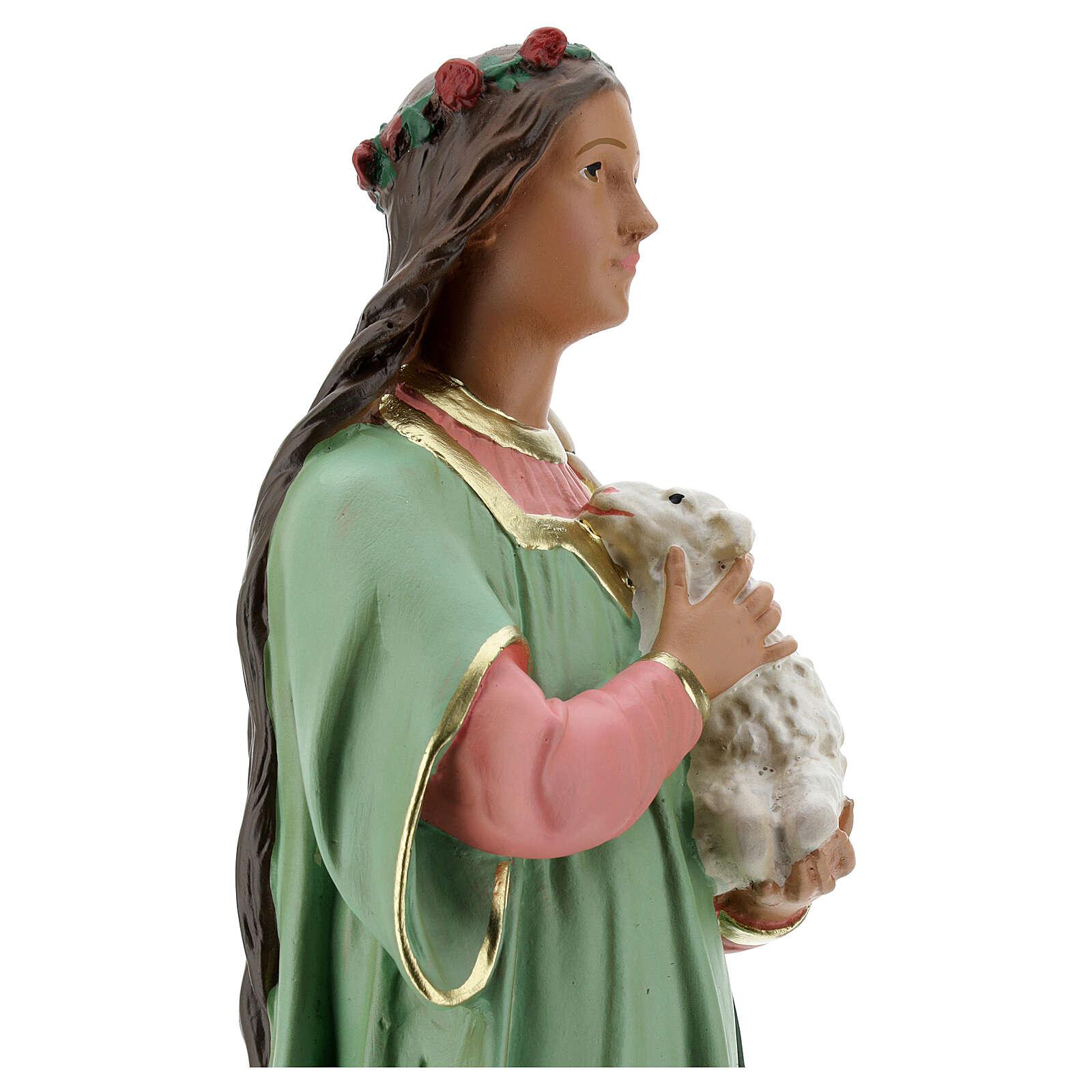 St. Agnes statue plaster 40 cm hand painted Arte Barsanti 4