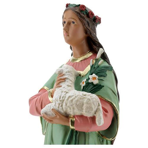 Santa Agnese statua gesso 40 cm dipinta a mano Arte Barsanti 2