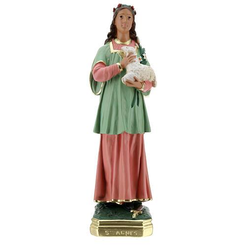 St Agnes statue, 40 cm hand painted plaster Arte Barsanti 1