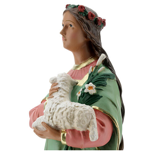 St Agnes statue, 40 cm hand painted plaster Arte Barsanti 6
