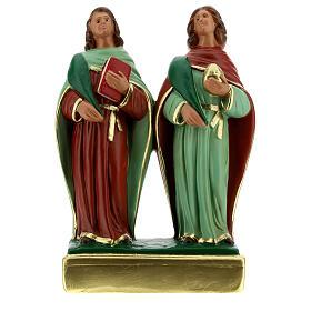 Côme et Damien statue plâtre 20 cm Arte Barsanti s1