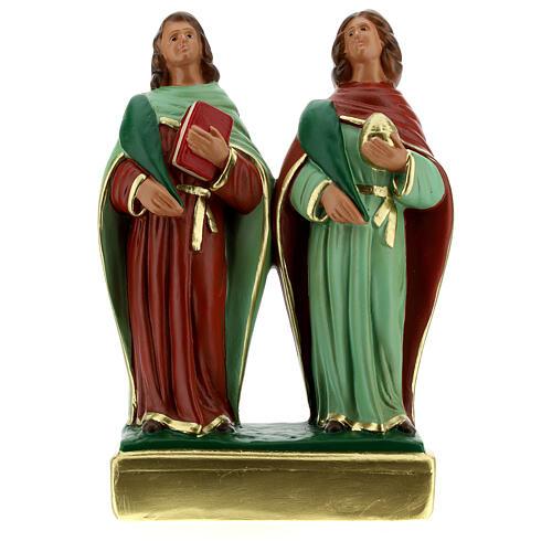 Côme et Damien statue plâtre 20 cm Arte Barsanti 1