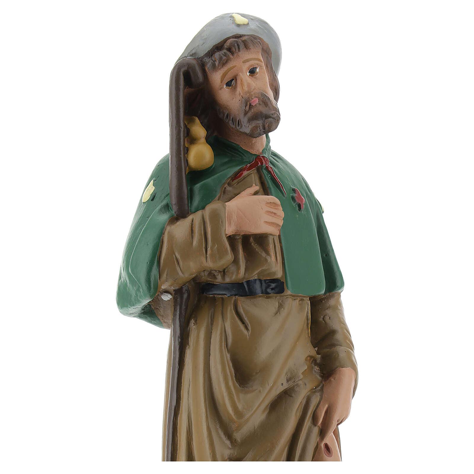 Saint Roch plâtre statue 20 cm peinte main Arte Barsanti 4