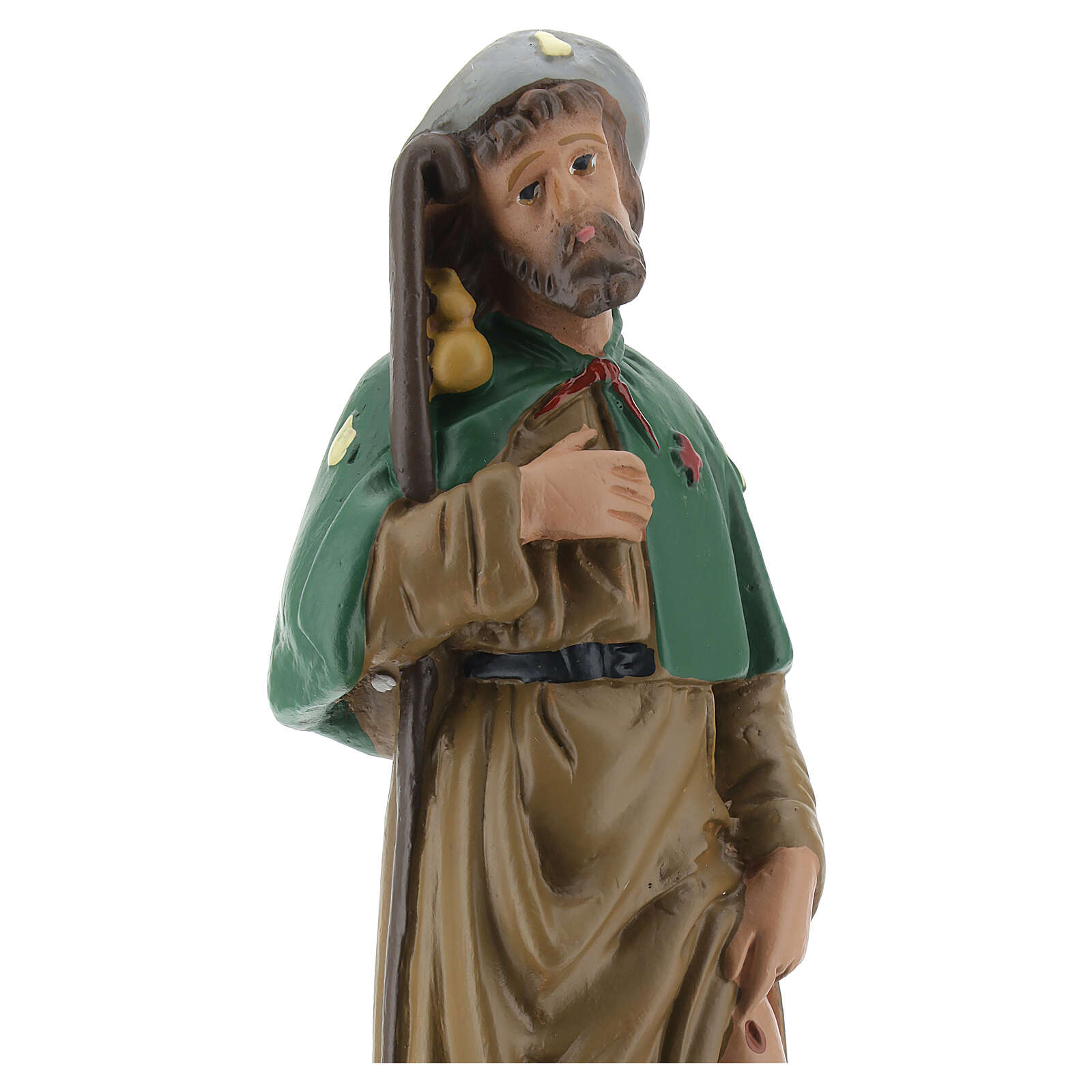 St Roch statue, 20 cm hand painted plaster Arte Barsanti 4
