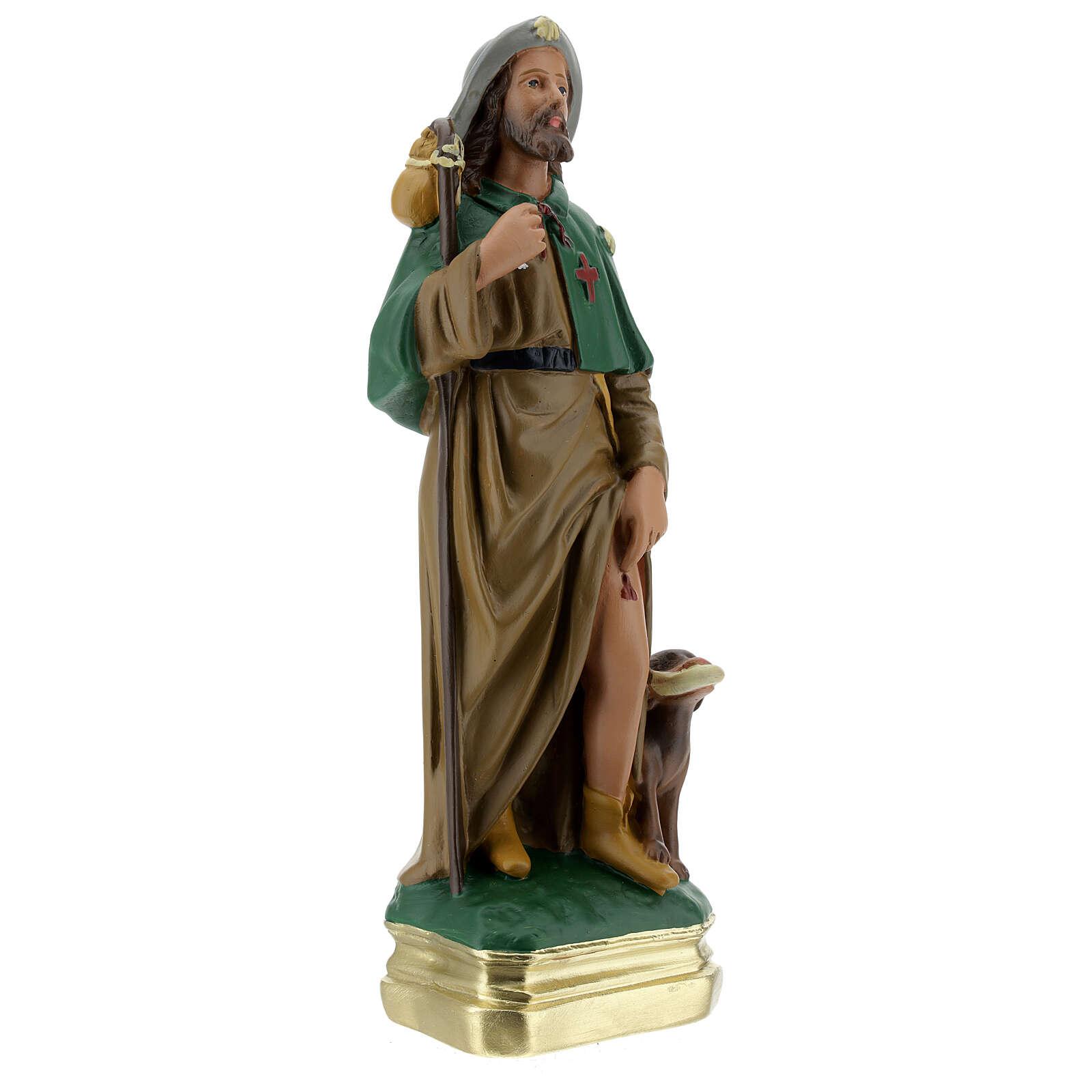 Statua San Rocco 30 cm gesso dipinto a mano Arte Barsanti 4