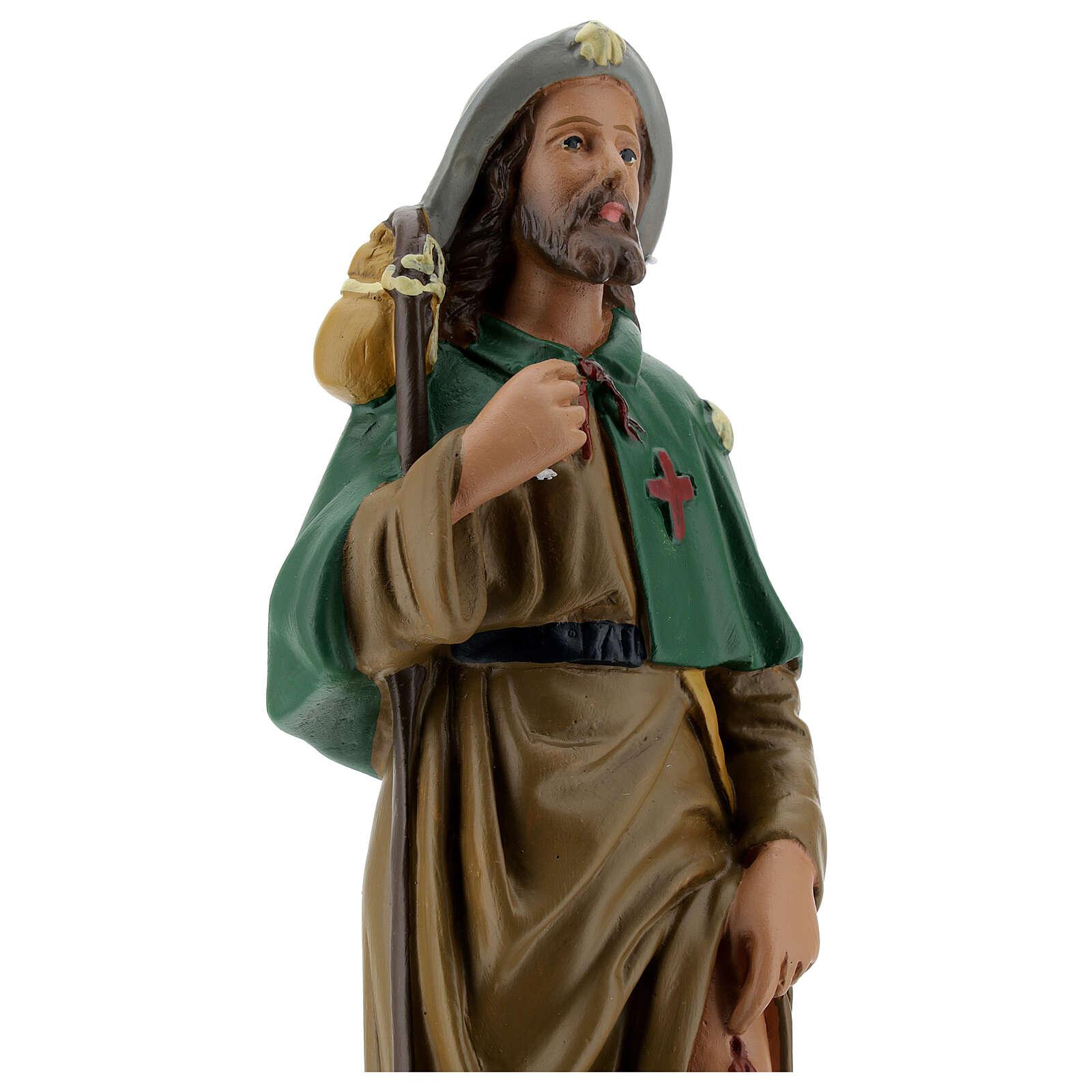 Saint Roch statue, 30 cm hand painted plaster Arte Barsanti 4