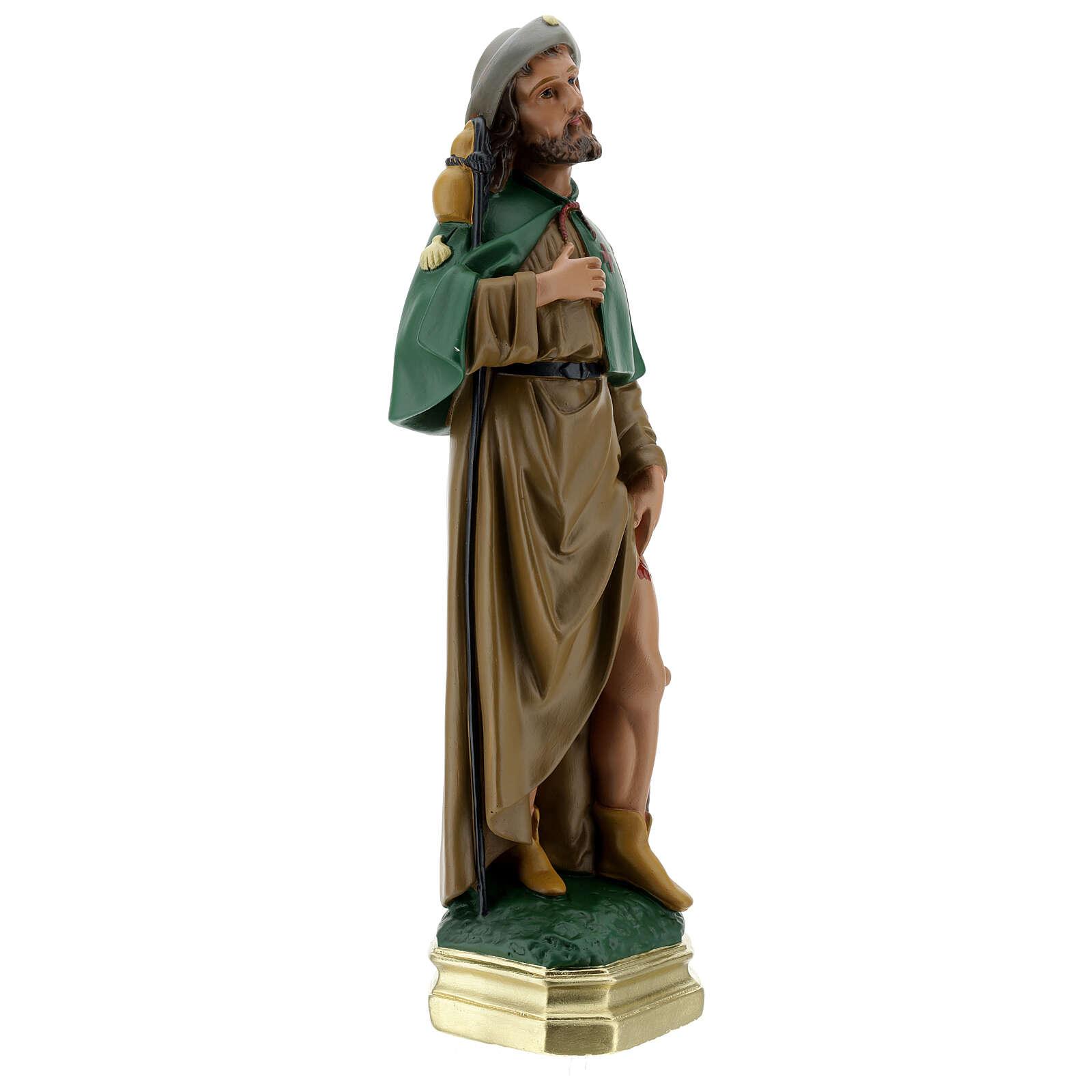 Saint Roch plâtre 40 cm statue peinte main Arte Barsanti 4