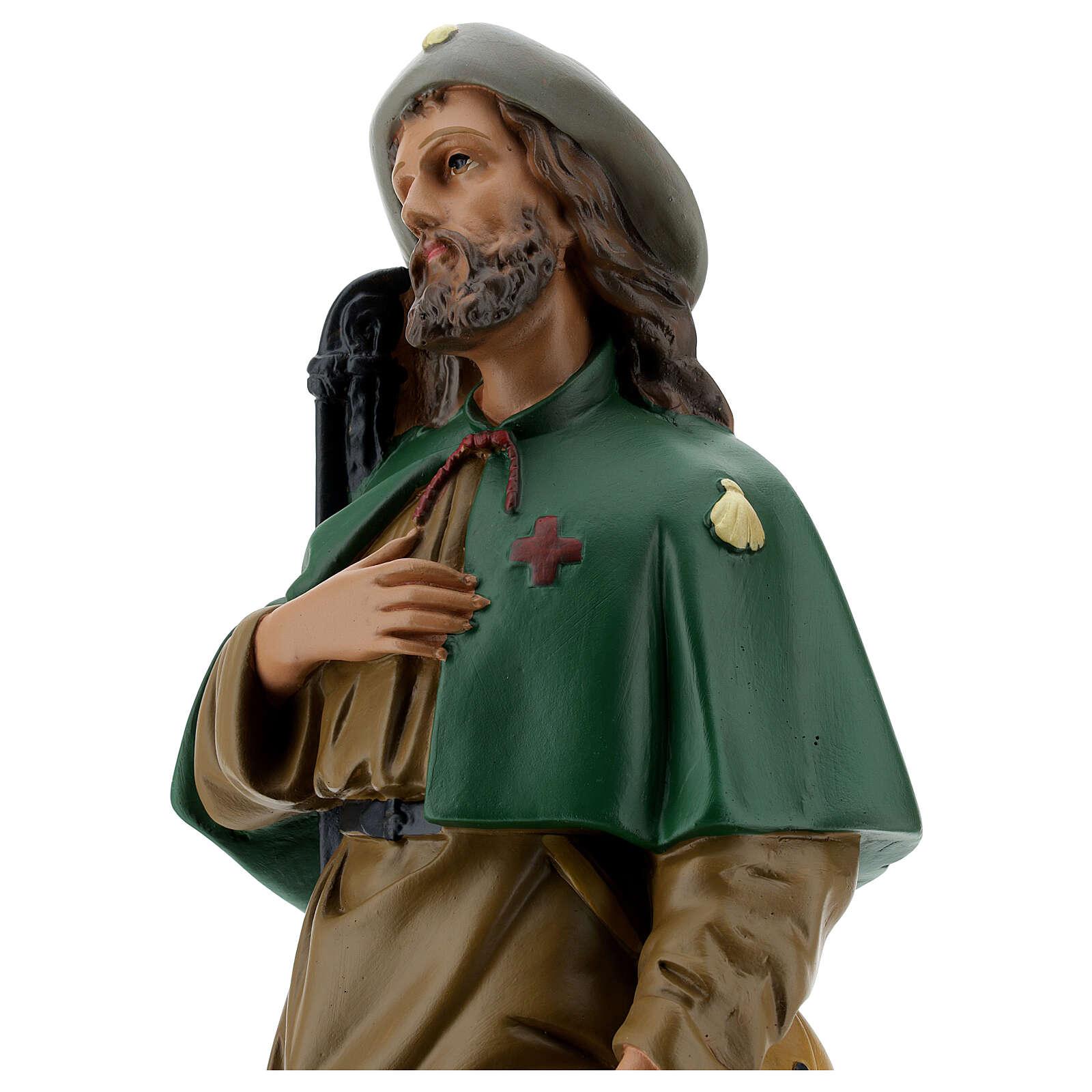 St Roch plaster statue, 40 cm hand painted Arte Barsanti 4