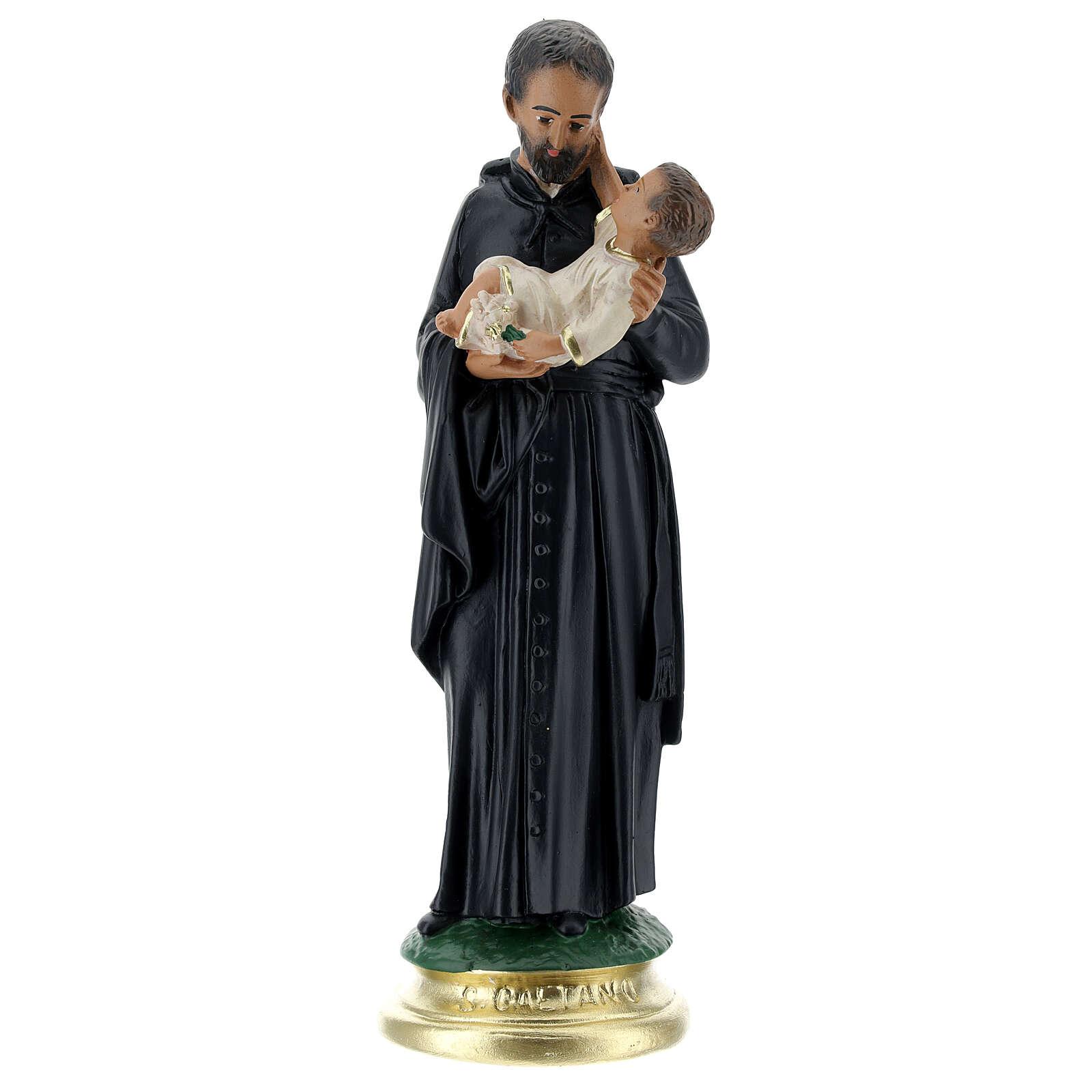 Saint Gaëtan statue 25 cm plâtre peint main Arte Barsanti 4