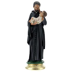 Saint Gaëtan statue 25 cm plâtre peint main Arte Barsanti s1